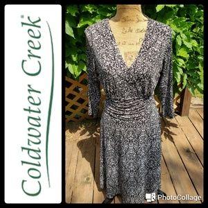 Coldwater Creek print faux wrap dress